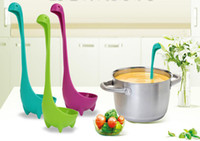 Wholesale cooking funnel - Soup Spoon And Funnel For Loch Nessie Monster Ladle Filter Colander Cute Plastic Long Handle Scoop Cooking Tool Kitchen DHL SHiP HH7-1252