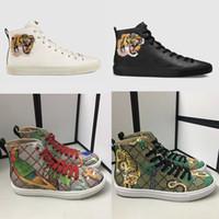 animal print cuero genuino al por mayor-Zapatillas de deporte de diseño para hombre zapatillas altas Zapatillas de cuero genuinas impresas con gato enojado tiger dragon sneaker para hombres, mujeres, talla 35-45