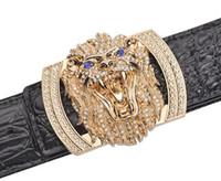 Wholesale wholesale designer mens belts - new belt Original designer Big Buckle Leopard belt Men luxury Buckle belt top quality fashion mens Genuine leather belts