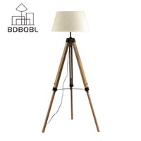 Wholesale Fabric Lampshades - BDBQBL LED Floor Lamp Fabric Lampshade Wood E27 Nordic European Rustic Vintage Art Style Decoration Foyer Home Living Room F-5