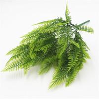 helechos plantas artificiales al por mayor-Nuevo Real Touch Feeling Fern Leaf Bunch 45CM Length Artificial Greenery Evergreen Plant Centros de mesa de boda Decorativo Greener 1 7jl