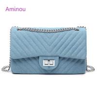 mavi elmas zincir toptan satış-Aminou Kadınlar Tasarımcı Omuz Çantası Zincirler Flap Messenger Çanta Bayanlar Elmas Kafes Kızlar Için Denim Crossbody Çanta Mavi Çanta