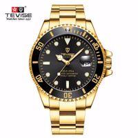 tevise mekanik saat toptan satış-2018 Yeni Sıcak Tevise Üst Marka Erkekler Mekanik Saatler Otomatik İzle Ünlü tasarım Moda Lüks Altın Saat Relogio Masculino D18100706