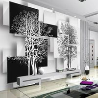Wholesale wallpaper metallic for sale - Group buy Customization D Wallpaper for Walls d Non Woven Silk Wallpaper Murals Backgrounds for Living Room Simple Black and White Tree