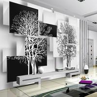 árvores mural pretas venda por atacado-Personalização 3d papel de parede para paredes 3d não tecido de seda murais de parede fundos para sala de estar simples preto e branco da árvore