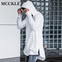 Wholesale cut shirt styles - Mcckle British Style Mens Hooded T Shirt Hipster Hip Hop Streetwear Gold Side Zipper Men Extended Arc Cut Long Sleeve Tees