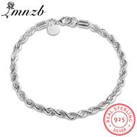 925 links de corrente de pulseira de prata venda por atacado-925 pulseiras de prata pura Classic Link cadeia pulseiras LMNZB jóias finas pulseira para homens mulheres presente