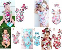 Wholesale kids headbands wholesale - Ins Baby kids summer girl romper O-neck full flowers print ruffles sleeveless romper + headband kids casual romper set