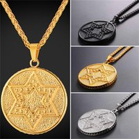 Wholesale stainless medal - U7 Jewelry Magen Star Of David Pendant Necklace Jewelry Stainless Steel 18K Gold Plated Chain Medal Charm Necklace Men Women GP2706