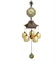 ingrosso buon giardinaggio-Chines Feng Shui Chitarre eoliche in metallo con campane in rame per fortuna buona fortuna giardino casa appeso a parete decorazione arte artigianato regali di compleanno