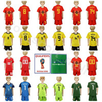 9bef74e93 World Cup 2018 Soccer Belgium Youth Jersey 9 Romelu Lukaku 14 Dries Mertens  8 Marouane Fellaini Football Shirt Kids Kits With Short Pant