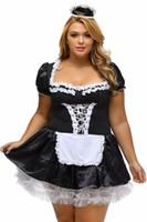 cosplay sexy achat en gros de-S-6XL Noir Satin Et Dentelle Blanche Fantaisie Mini Maid Dress Français Cosplay Sexy Maid Costume Plus La Taille Costumes d'Halloween pour Femmes