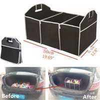 Wholesale wholesale car trunk organizer online - Storage Bags Foldable Car Organizer Boot Stuff Food Storage Bags Bag Case Box trunk organiser Automobile Stowing Tidying Interior Acc BBA352