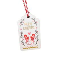 ingrosso ornamenti diy crafts-50 Pz / set Ornamenti appesi di Natale Tag di carta con cordino Fai da te Bomboniere Capodanno Decorazione natalizia Decorazioni per la casa Forniture per feste