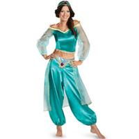 ingrosso pantaloni aladdin-European and American Halloween Princess Aladdin interpreta Costumi Role Playing Cosplay Gioco Uniforme Copricapi + top + pantaloni