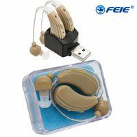 işitme cihazı sesi toptan satış-FEIE 1 Çift Ucuz Yaşlı Için USB Şarj Edilebilir İşitme Ses Amplifikatör Taşınabilir BTE Sağır İşitme Kulak Bakımı Araçları S-109S
