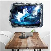 ingrosso adesivi di sfondo del sofà-Adesivo murale Soggiorno 3D Art Poster Casa Divano decorativo Bambini Nursery Sfondo Adesivi murali 50 * 70cm BBA63