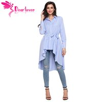 Wholesale long sleeve belted blouse - Dear Lover Stripe Blouse Shirt Women New Fashion Blusas Office Ladies Autumn Long Sleeve Lapel High Low Belted Tunic Top C250364