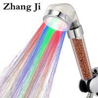 regenschauer farben groihandel-ZhangJi Erstaunliche 7 Farben LED Duschkopf Badezimmer Farbwechsel Filter Duschkopf SPA Regenwassereinsparung Handheld Köpfe