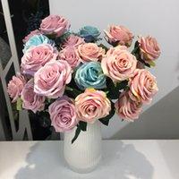fake rose bunch venda por atacado-Seda Artificial 1 Bunch Francês Rose Floral Bouquet Flor Falsa Organizar Mesa De Casamento Da Margarida Flores Decoração Do Partido Acessório Flores