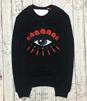 reine augen großhandel-Stickerei Tiger Kopf Pullover Paris Marke reiner Baumwolle Langarm Oansatz Pullover Terry Pullover KZ Augen Sweatershirts
