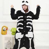 sıcak kigurumi toptan satış-Sıcak Kafatası İskeleti Çocuk Yetişkin Hayvan Kigurumi Pijama Cosplay Pijama Kostümleri Unisex Güzel pijama