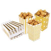 ingrosso scatole di caramella gialle-2017new 50pcs scatole di popcorn giallo design trio in miniatura bordo smerlato cartone (oro) partito contenitore di caramelle trattare scatole