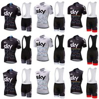 Wholesale Sky Jersey Bibs - 2018 Brand New Team SKY Cycling Clothing For Men Short Sleeve Cycling Jersey Sets Cycling Bib Shorts sets ropa ciclismo hombre C0811
