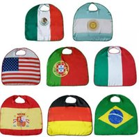 Wholesale usa halloween costumes - World Cup National Flag Cloak Costume Cape USA Italy Germany Flag Cloak Clothing for Kids Polyester Cloak 70*70cm
