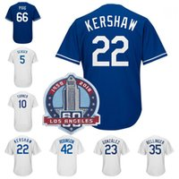 Wholesale 35 l - 22 Clayton Kershaw 42 Robinson 35 Cody Bellinger 5 Corey Seager Yasiel Puig Justin Turner Chris Taylor 60th Patch Baseball Jersey