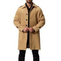 ingrosso cappotto di lana-Inverno uomini nuovi di moda di colore solido monopetto lungo trench coat uomo casual lungo cappotto di panno lungo di lana di grandi dimensioni J181035