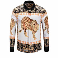 Wholesale mens leopard print top for sale - Leopard Golden Flower Carving Print Design Mens Shirts Long Sleeve Fashion Fit Shirts Hommes Winter Autumn Clothing Mens Tops Shirts