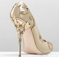 champagner prom fersen großhandel-Ralph Russo Bequeme weibliche Champagner Designer Hochzeit Brautschuhe Seide eden Heels Schuhe für Hochzeit Abendgesellschaft Prom Schuhe