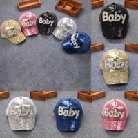 newborn baby net toptan satış-Toddler Yenidoğan Çocuk Bebek Kız Erkek Sequins Beyzbol Şapkası Snapback Hip-Hop Örgü Şapka yetişkin çocuk güneş şapka yaz net beyzbol şapkası BBA269