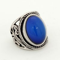 Wholesale mood stones for sale - Group buy Mojo Classic Bohemia Retro Real Silver Plated Mood Stone Ring Emotion Feeling Temperature Control Color Change Ring
