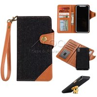 Wholesale Iphone Denim Wallet Case - Denim Jeans Style PU Leather 2in1 Detachable Design Magnetic Flip Wallet Cover Card Cash Holder For Samsung Note 8 S8 Iphone X 8 7 6s 6 Plus