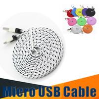 cable plano de fideos trenzado al por mayor-2M 6FT Braid Flat Noodle Cable Micro USB para Samsung Galaxy S9 s9plus S6 S5 S8 Note8 Sync Cable de adaptador de carga de datos Android cable del teléfono