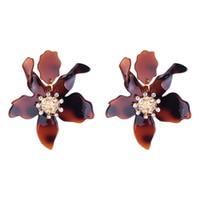 akrilik bilyalı küpeler toptan satış-Akrilik Büyük Çiçekler Küpe 8 Renkler Rhinestone Topu Moda Kadınlar Abartılı Parti Rahat Nighclub Parti Küpe ücretsiz kargo