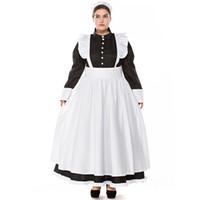 ingrosso cosplay bianca nera bianca-Classico bianco e nero francese grembiule cameriera cosplay donne abito da ballo costume da sera tuta di halloween costume cosplay plus size