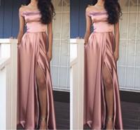 Wholesale long evening simple skirt dress resale online - Newest Design Pink Prom Dresses Split Off The Shoulder Evening Gowns A Line Sleeveless Floor Length Long Skirt Satin Simple Evening Dresses