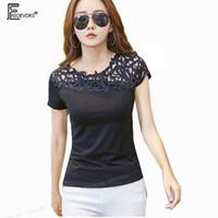 siyah çiçek taytları toptan satış-Slim Fit Kadın Bluz Gömlek Tasarım Kadınlar Tops Yaz Bodysuit Sıkı Patchwork Kırmızı Siyah Hollow Out Tığ Dantel Çiçek Bluz