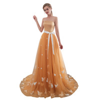 Wholesale cheap maternity wedding dresses online - 2018 Cheap Strapless Bridesmaid Dresses A Line Gold Tulle Butterfly Appliques Maid Of Honor Wedding Guest Gown In Stock