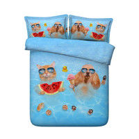Wholesale 3d lighting bedding sets - 3D Printed Swimming Dog Cat Bedding Sets Twin Full Queen King Cal King Dovet Cover Set Pillow Shams Comforter Set Light Blue Boy Children