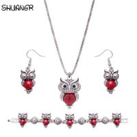Wholesale vintage jade beads - SHUANGR Vintage Beads for jewelry making Red Stones Owl Necklace Earrings Choker Collar Earings Jewelry Sets 2017 Women Gift