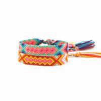 farbige seilarmbänder großhandel-AMIU Handgemachte Schmuck Dropshipping Freundschaft Armbänder Verstellbare Wrap Baumwolle Mix-Farbe Gewebt Trendy Seil String Für Frauen Männer
