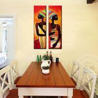 ingrosso dipinti ad olio figure astratte-Donna africana che dipinge figura moderna astratta che dipinge le pitture a olio fatte a mano verticali della decorazione per la parete del salone