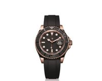 ingrosso orologi naturali-Luxury Watches 116655 Automatico meccanico quadrante nero cinturino in gomma naturale Yacht Mens Watch Index - 116655 orologio da polso in oro rosa