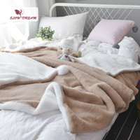 Wholesale camel blanket resale online - Slowdream Camel And White Soft Elegant Blanket Comfortable Throws Coral Fleece Bedspread For Sofa Bed Home Blanket Size