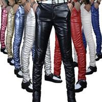 erkekler deri pantolon sıska toptan satış-6 Renkler Deri Pantolon Erkekler 2018 Erkek Pantolon Deri Moda Yüksek Kalite PU Malzeme Fermuar Sıska Suni Deri Pantolon Erkekler için