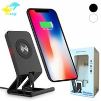 Wholesale Dock Desktop Charger - Desktop Dock Qi Wireless Charger Holder Stand For Samsung S6 S7 edge S8 Plus note8 Iphone 8 plus X Universal Charger